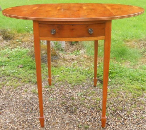 Yew Oval Dropleaf Pembroke Table